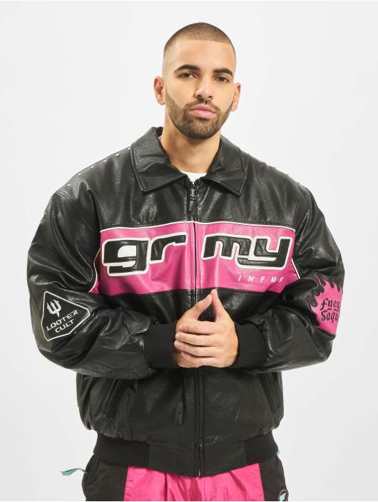 Grimey Wear Chaqueta de cuero Looter Cult PU negro