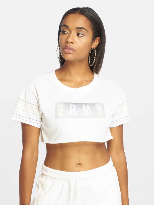 Grimey Wear Top Fluid Planet Crop white