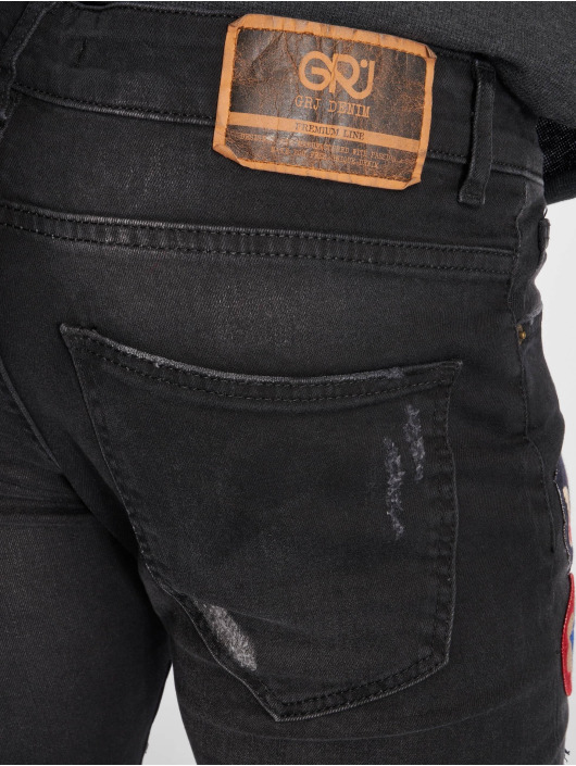 GRJ Denim Jean slim Fashion noir