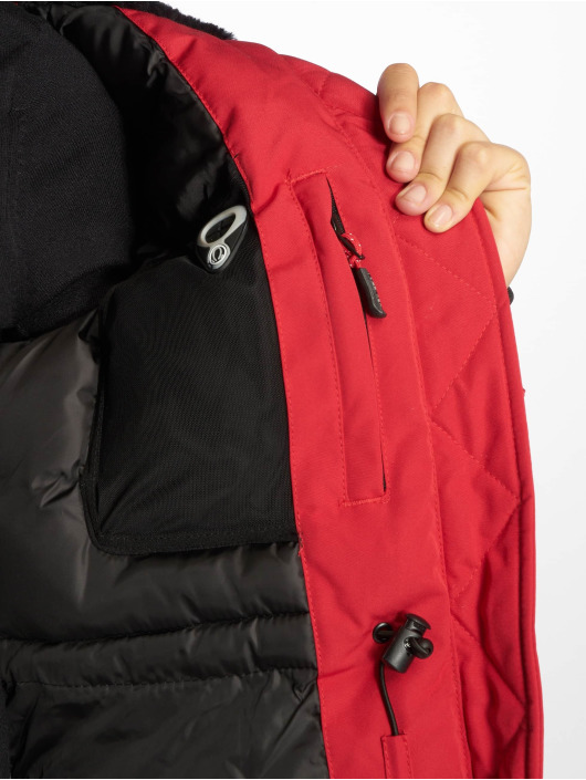 Helvetica Winter Jacket Ontario Raccoon Edition red