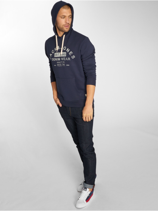 Jack & Jones Bluzy z kapturem jjeJeans niebieski