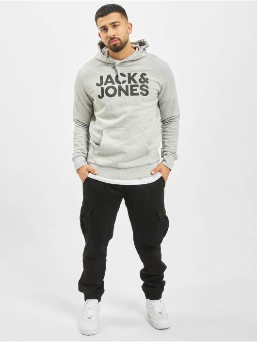 Jack & Jones Bluzy z kapturem jjeCorp Logo Noos szary