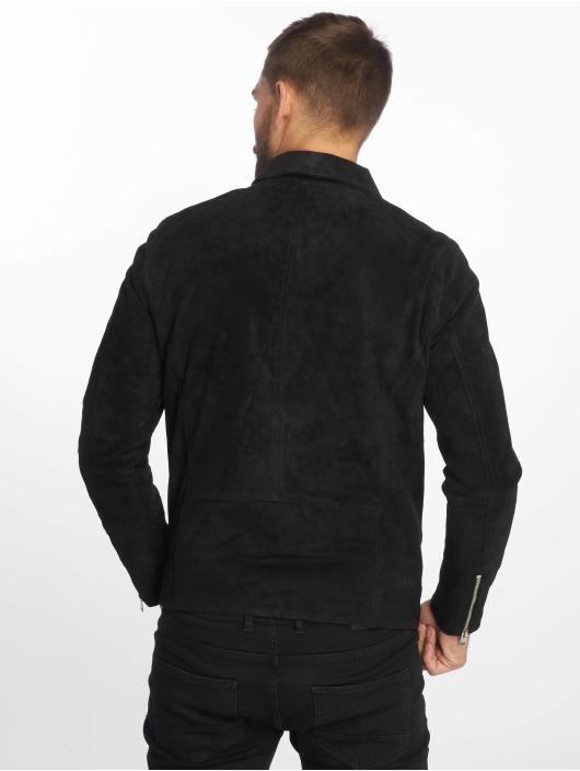 Jack & Jones Kurtki skórzane jorDane Biker Noos Leather czarny