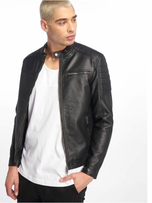 Jack & Jones Leather Jacket jcoRocky black