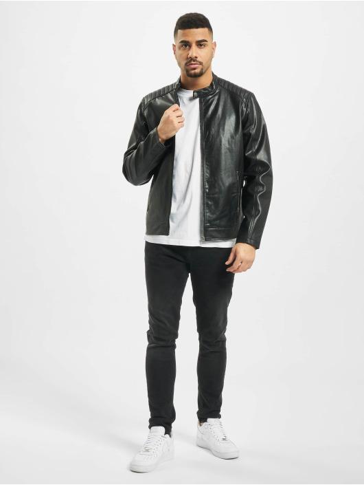 Jack & Jones Leather Jacket jorAck black