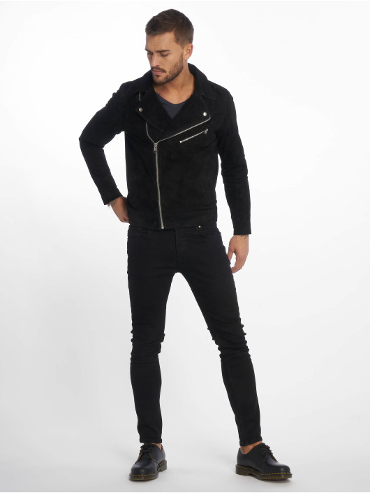 Jack & Jones Lederjacke jorDane Biker Noos Leather schwarz