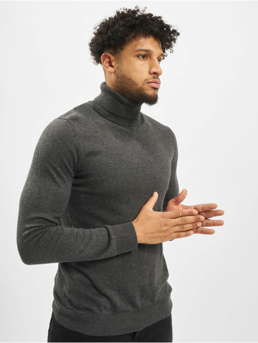 Jack & Jones Pullover jjeEmil Knit Roll Neck grau