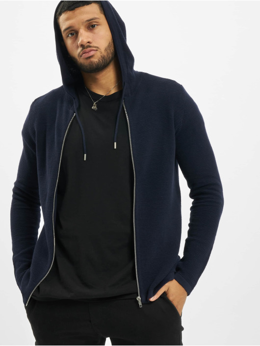 Jack & Jones Sweat capuche zippé jjeLiam Knit Noos bleu