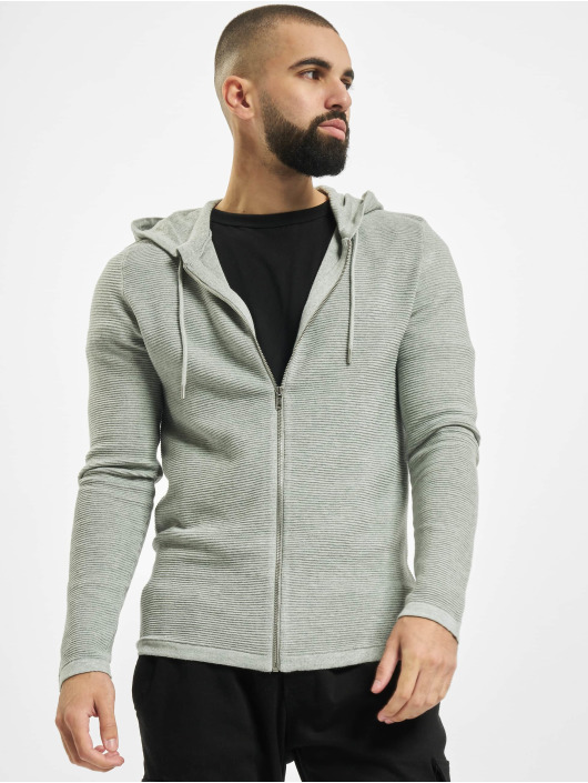 Jack & Jones Sweat capuche zippé jjeLiam Knit Noos gris