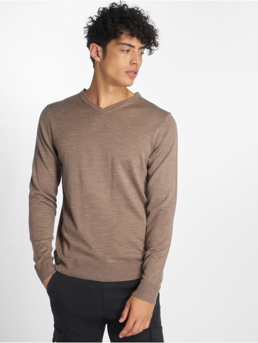 Jack & Jones Swetry jprMark Knit brazowy
