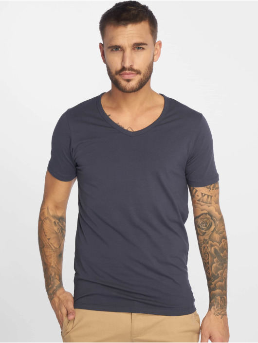 Jack & Jones T-Shirt Basic V-Neck blau
