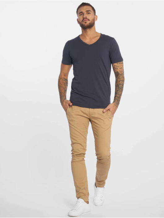Jack & Jones T-Shirt Basic V-Neck blau