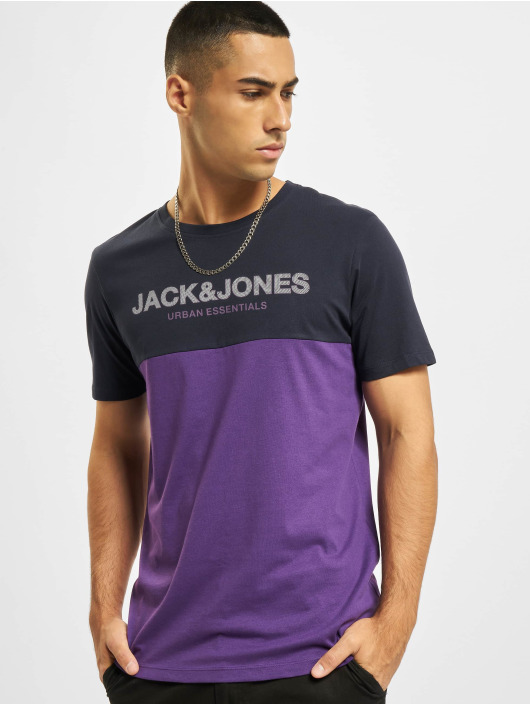Jack & Jones T-Shirt Jjeurban Blocking O-Neck bleu