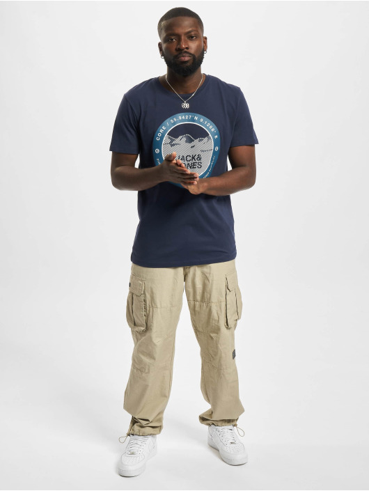 Jack & Jones T-Shirt Jcobilo Crew Neck blue