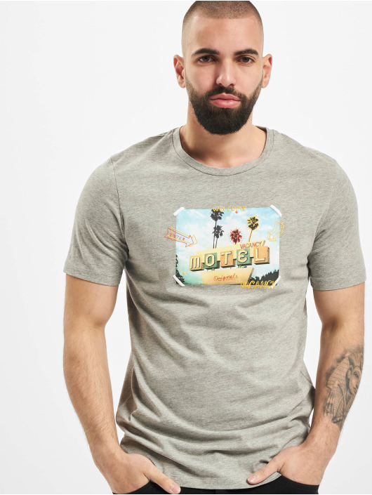 Jack & Jones T-Shirt jorLuciano Organic Crew Neck grau