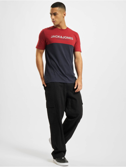 Jack & Jones T-Shirt Jjeurban Blocking O-Neck rot