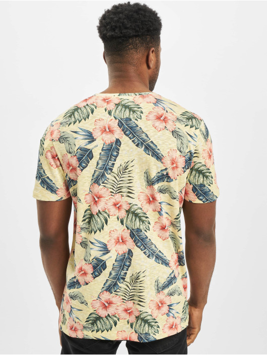 Jack & Jones T-Shirt jorEli Organic AOP Crew Neck yellow