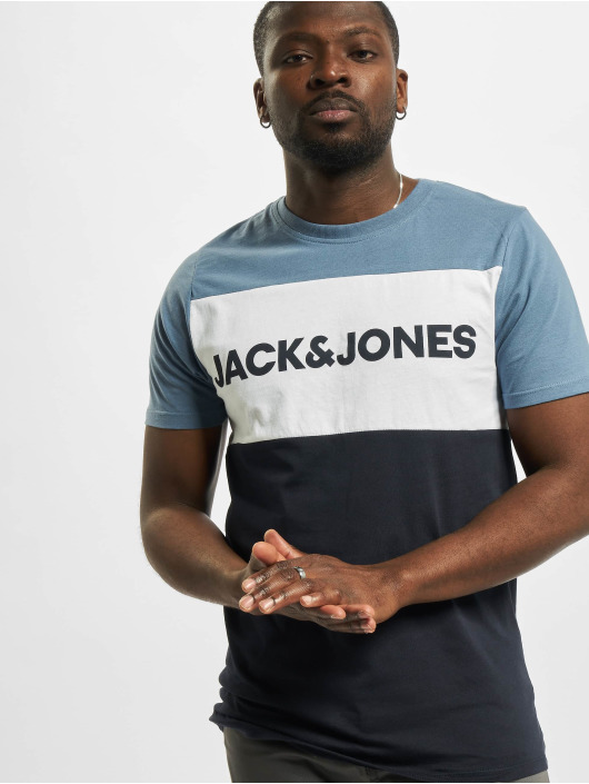 Jack & Jones T-Shirty jjeLogo Blocking Noos niebieski
