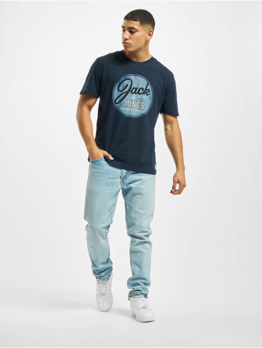 Jack & Jones T-Shirty jj30Jones Slub niebieski