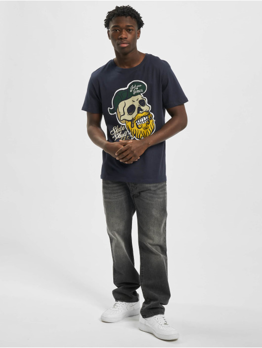 Jack & Jones T-Shirty jorSkulling niebieski
