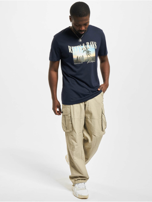 Jack & Jones T-skjorter Jormaldives Crew Neck blå