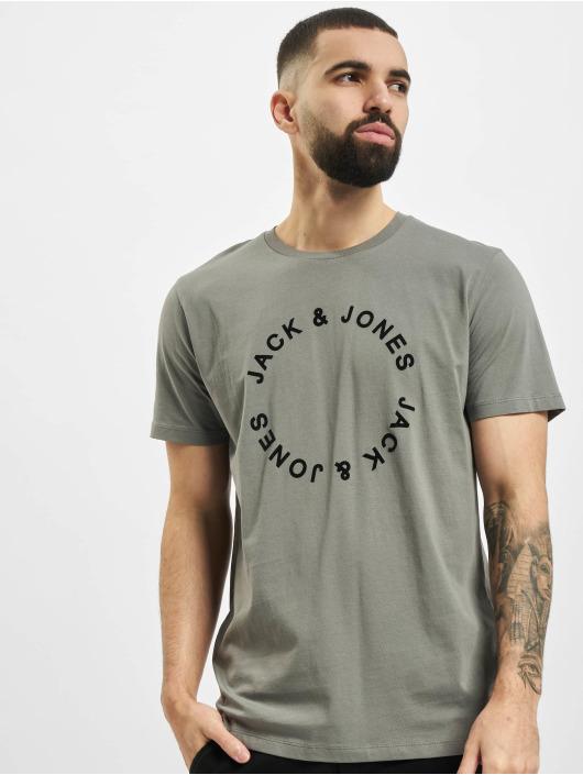 Jack & Jones Tričká jjCircle Flock šedá