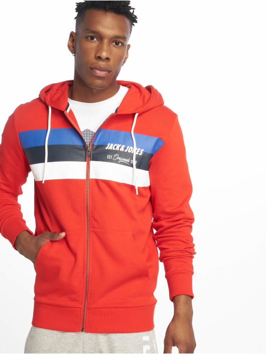 Jack & Jones Zip Hoodie jorShakedowns red