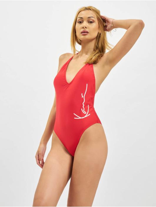 Karl Kani Bathing Suit Signature Deep Neck red