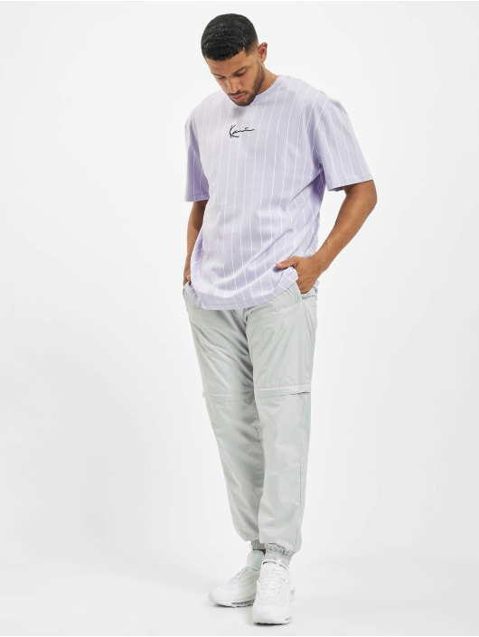 Karl Kani Camiseta Small Signature Pinstripe púrpura