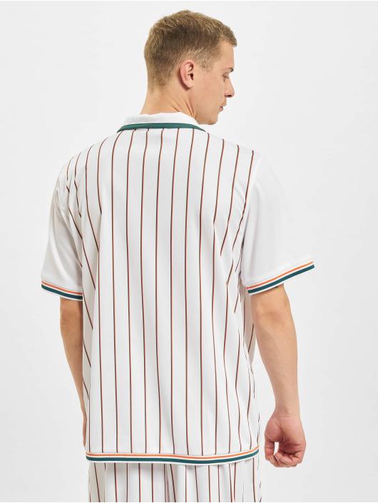 Karl Kani Chemise Varsity Block Pinestripe Baseball blanc