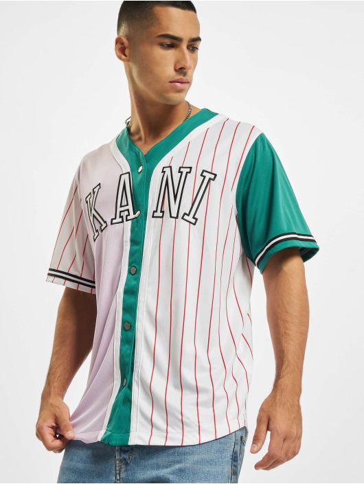 Karl Kani Chemise College Block Pinstripe Baseball pourpre