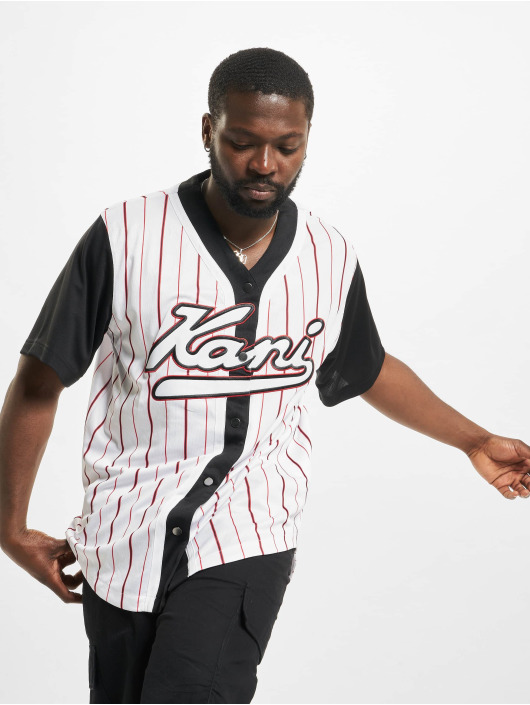 Karl Kani Hemd Varsity Block Pinstripe Baseball schwarz