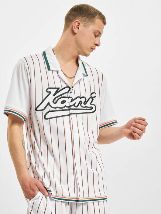 Karl Kani Kauluspaidat Varsity Block Pinestripe Baseball valkoinen
