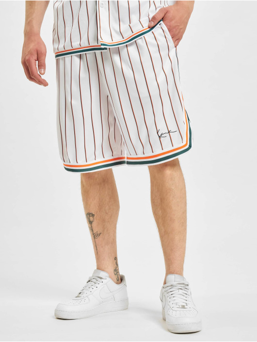 Karl Kani Shorts Small Signature Pinestripe Mesh weiß