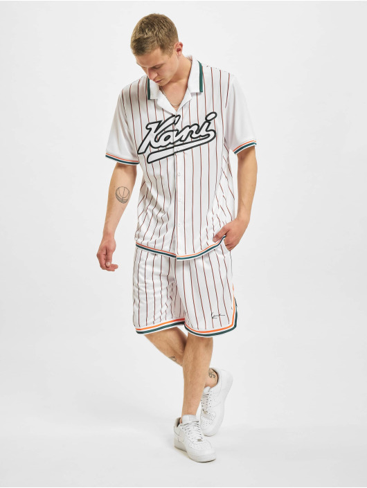 Karl Kani Skjorte Varsity Block Pinestripe Baseball hvid