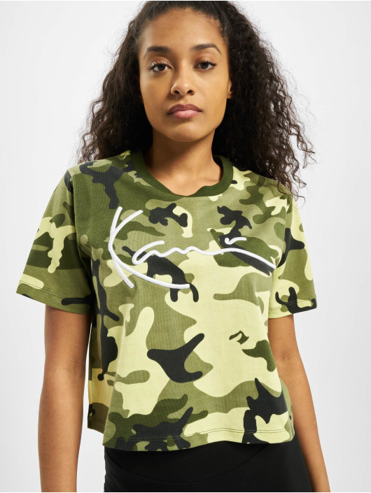 Karl Kani T-paidat Kk Signature Camo Crop Wide camouflage