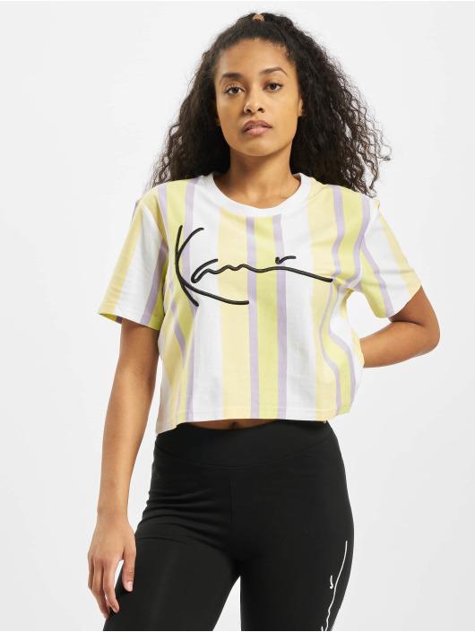Karl Kani T-paidat Kk Signature Stripe Crop Wide valkoinen
