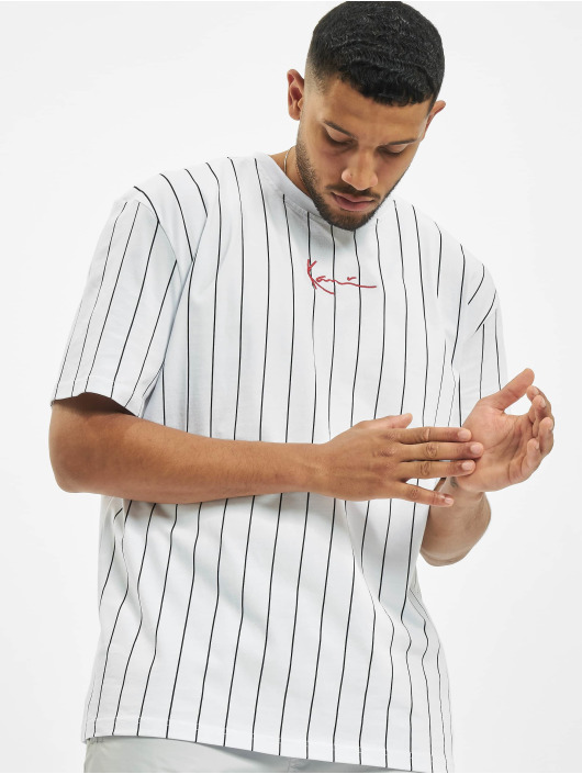 Karl Kani T-shirt Small Signature Pinstripe bianco