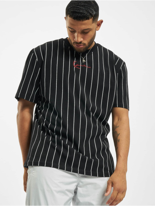 Karl Kani T-Shirt Small Signature Pinstripe black