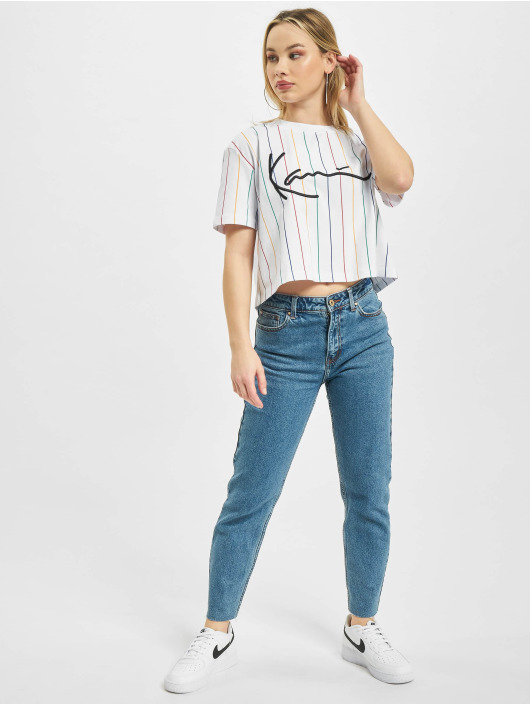 Karl Kani T-Shirt Signature Pinstripe blanc