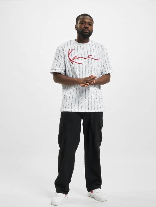 Karl Kani T-Shirt Signature Logo Pinstripe blanc