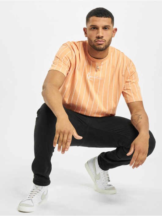 Karl Kani T-Shirt Small Signature Pinstripe orange