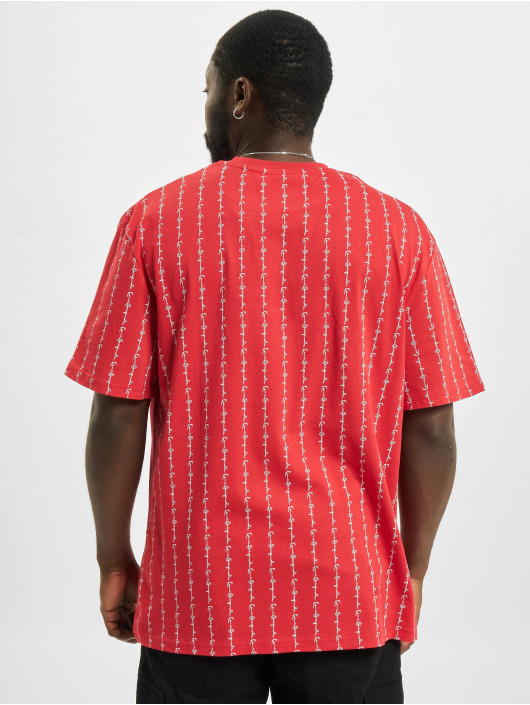 Karl Kani t-shirt Signature Logo Pinstripe rood