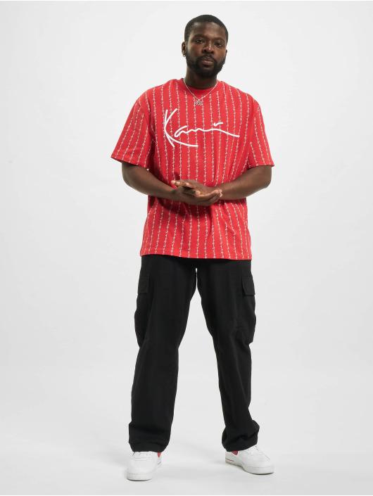 Karl Kani T-Shirt Signature Logo Pinstripe rouge