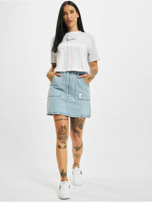 Karl Kani T-shirt Small Signature Short Pinstripe vit