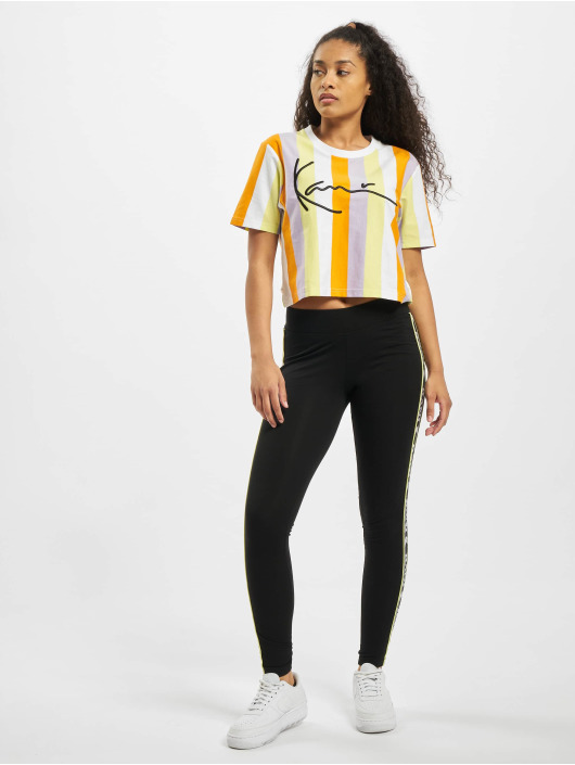 Karl Kani t-shirt Kk Signature Stripe Crop Wide wit