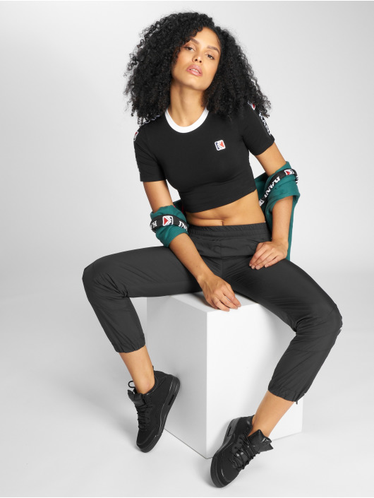 Karl Kani t-shirt Tape Cropped zwart