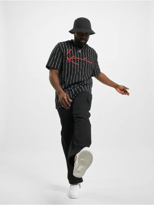 Karl Kani t-shirt Signature Logo Pinstripe zwart