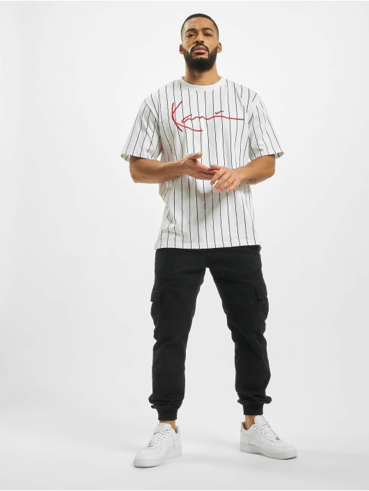 Karl Kani T-Shirty Signature Pinstripe bialy