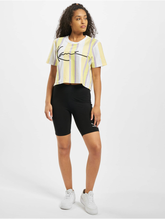Karl Kani T-skjorter Kk Signature Stripe Crop Wide hvit